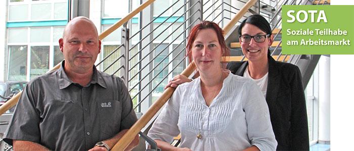 Thomas Feick und Bettina Wittenberg vom Arbeitgeberservice sowie Teamleiterin Yvonne Burkhardt sind die Ansprechpartner für das SOTA-Bundesprogramm bei der KoBa Harz.